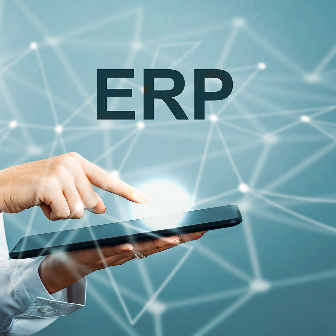 ERP text with business woman