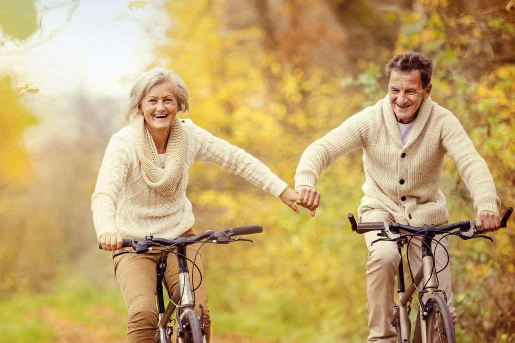 couple riding bikes together