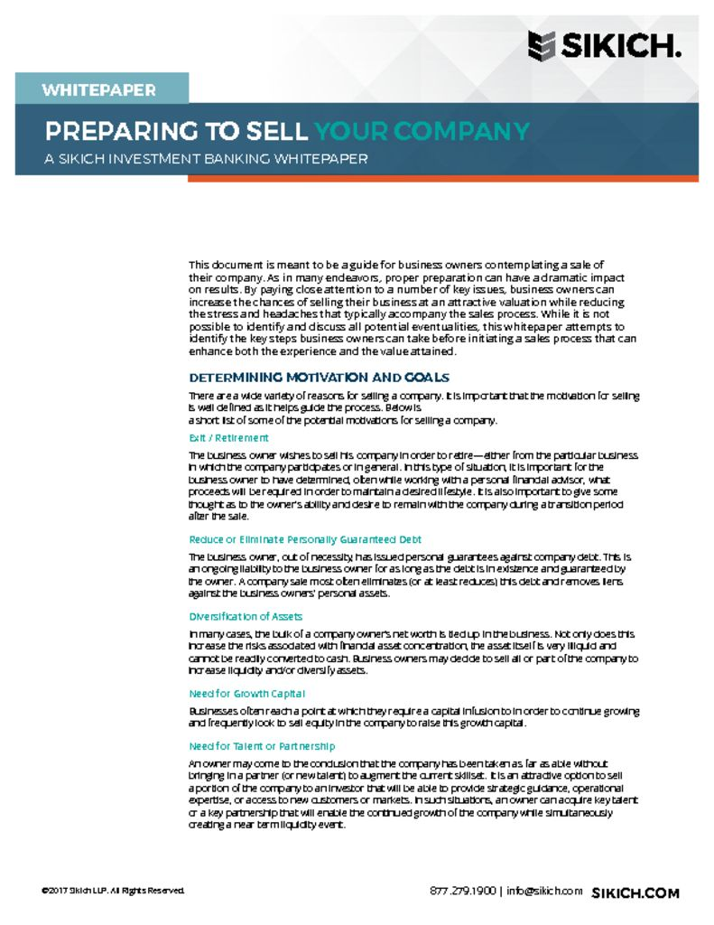 thumbnail of SKCH Preparing to Sell Your Company Investment Banking Whitepaper 09-17