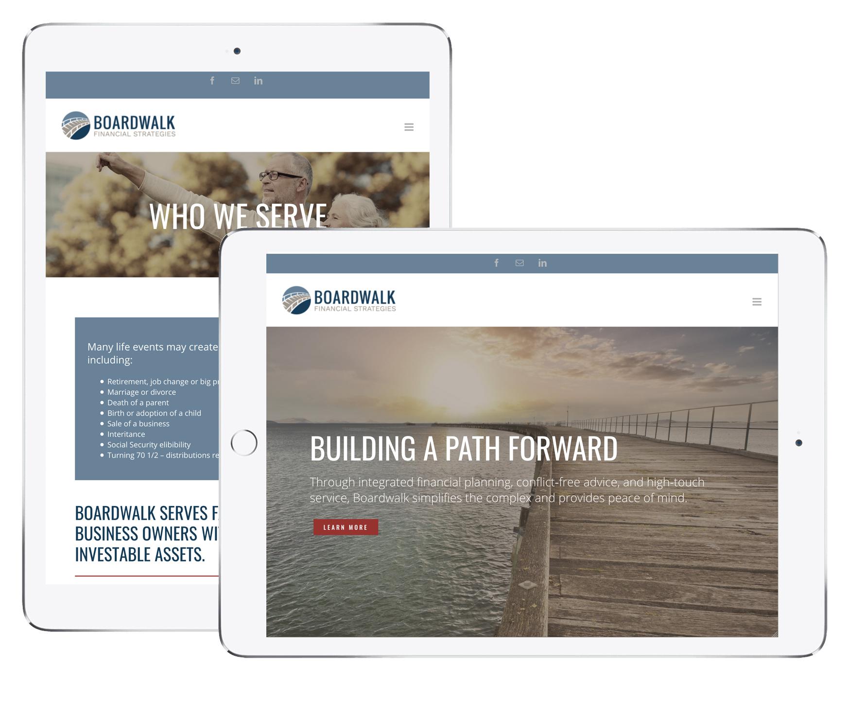 Boardwalk website on tablets