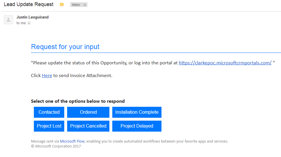 create flow from email