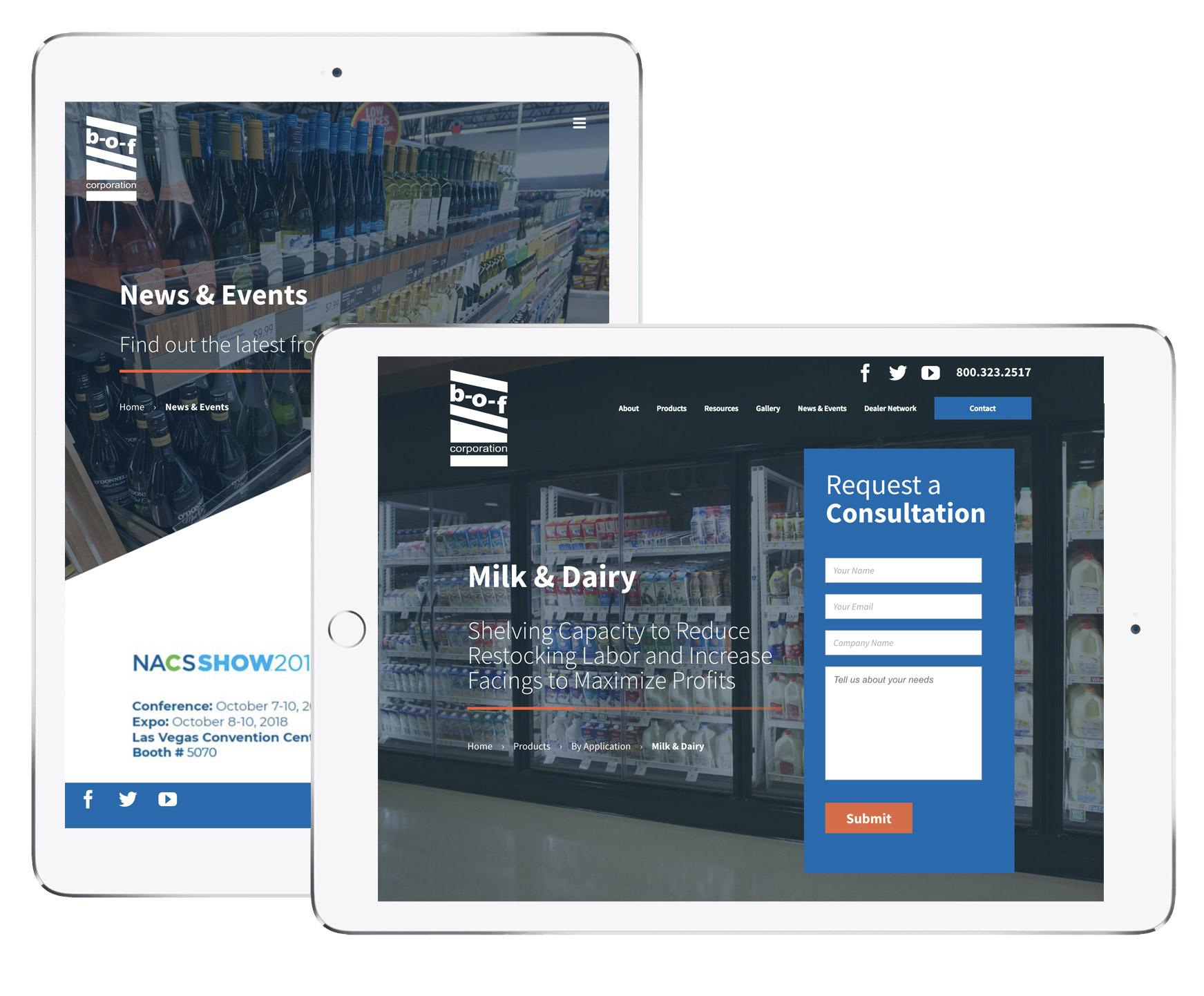 BOF responsive website on tablets