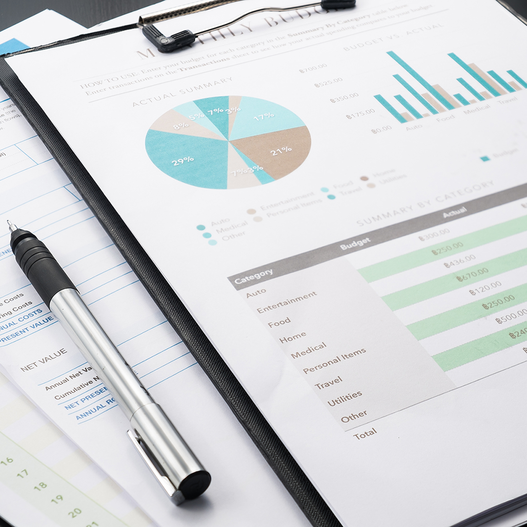 accounting business and financial report with pen
