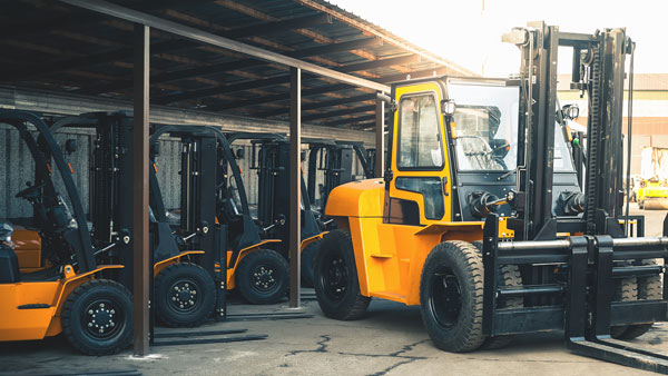 Forklifts ready for rental through automotive ERP system