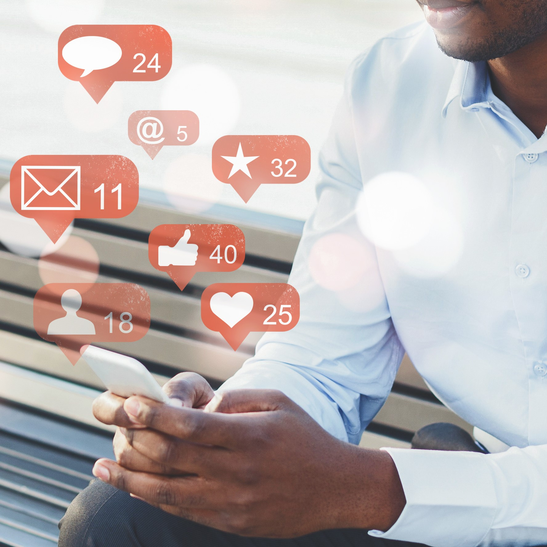 Businessman using social media with notification icons