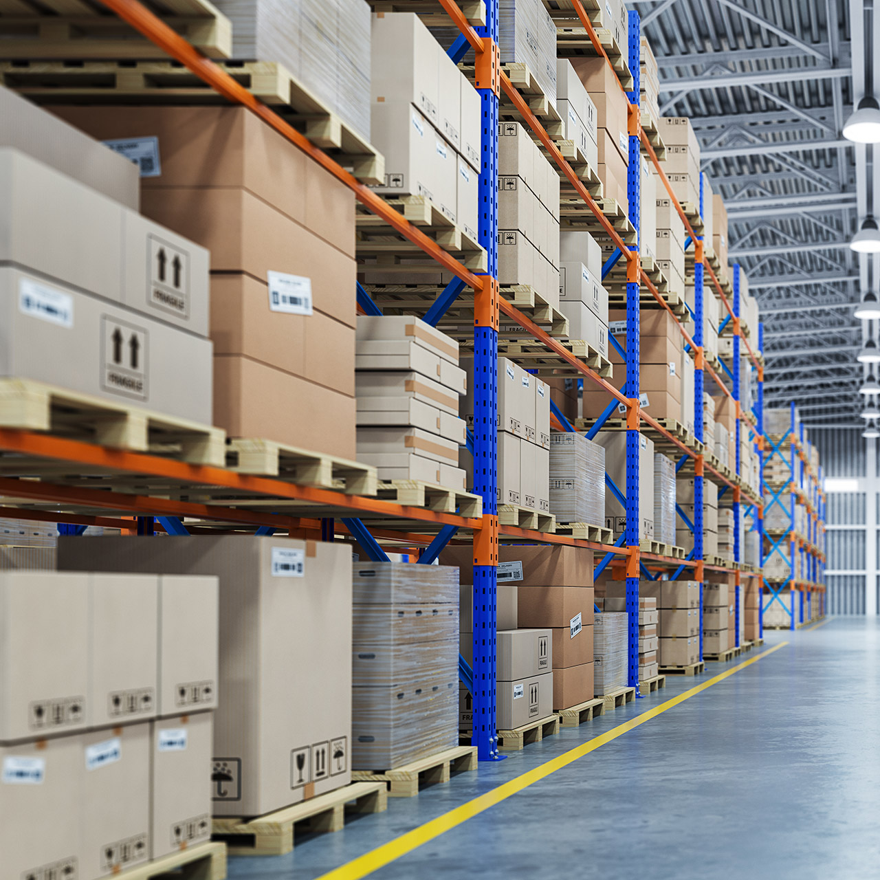 Warehouse or storage and shelves with cardboard boxes