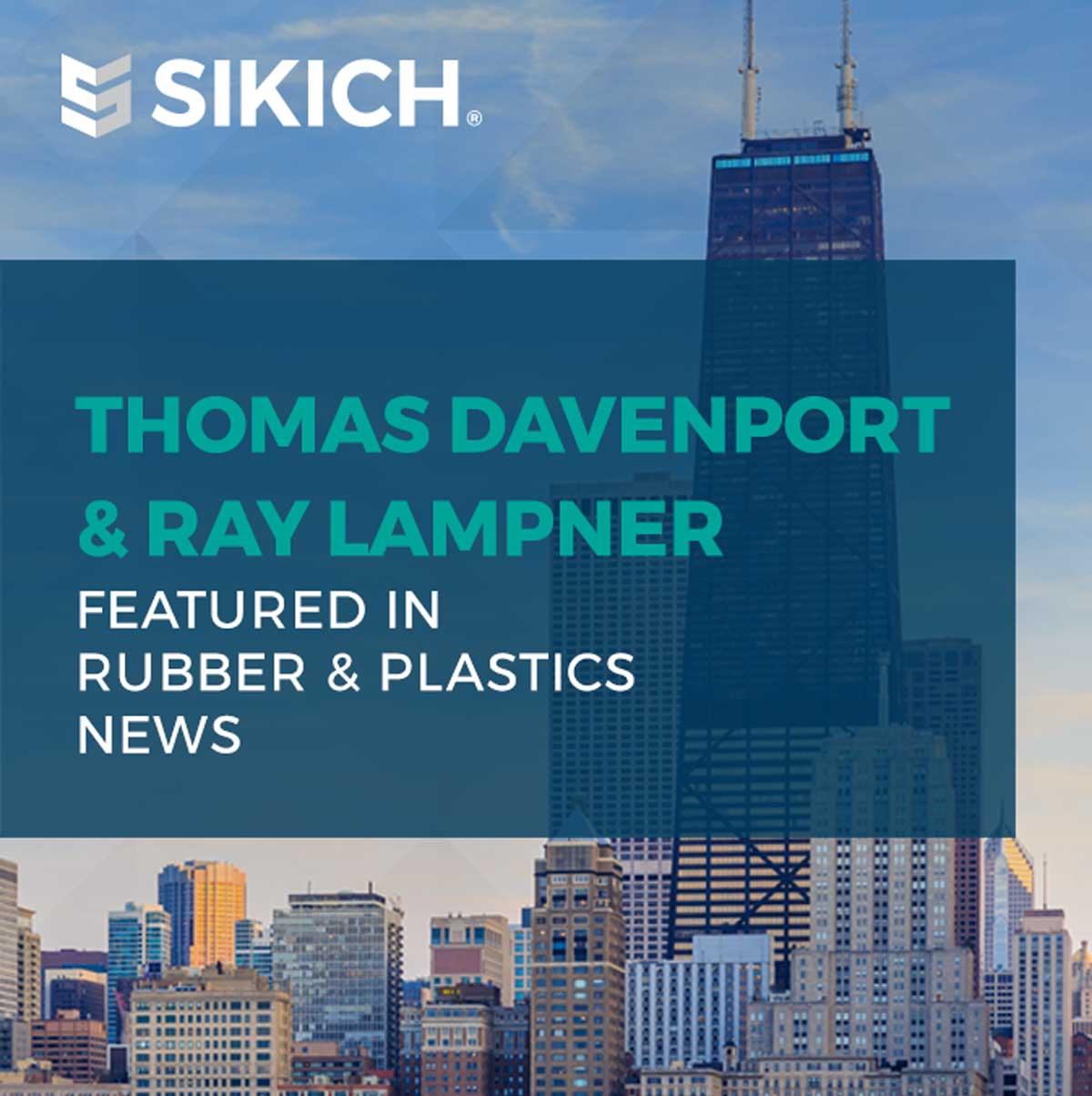 Ray Lampner and Thomas Davenport in Rubber & Plastics News; background is the Chicago skyline