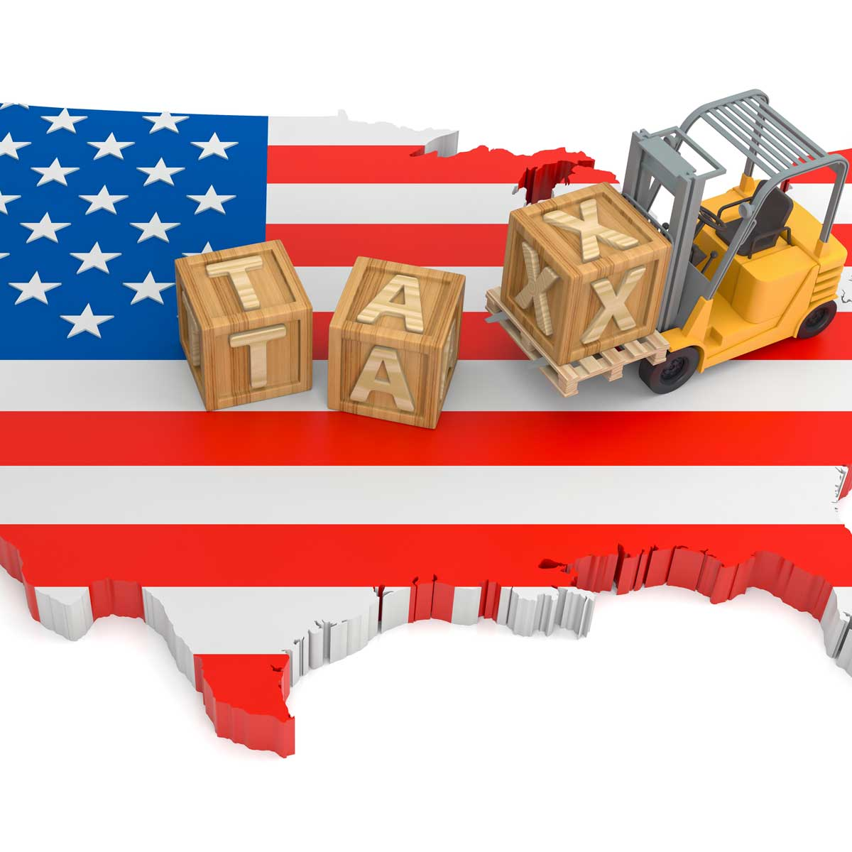 the united states of america with the flag covering the country. block letters spell out tax and a construction vehicle is picking up the block letters