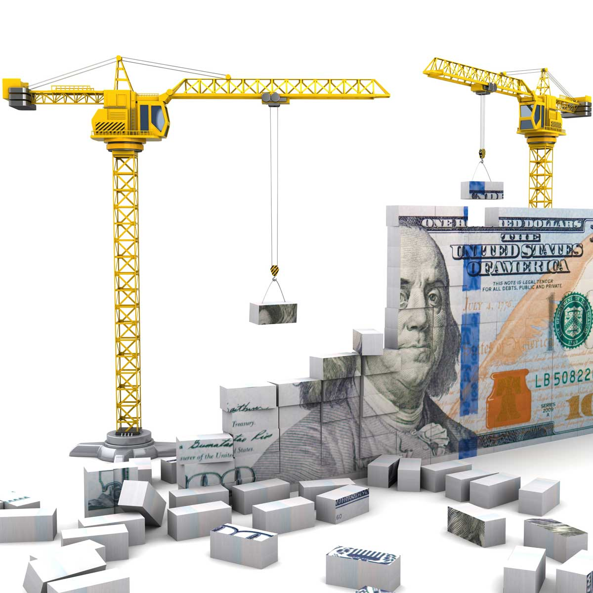 an image of construction building tools putting together a 100 dollar bill by stacking blocks of the bill together