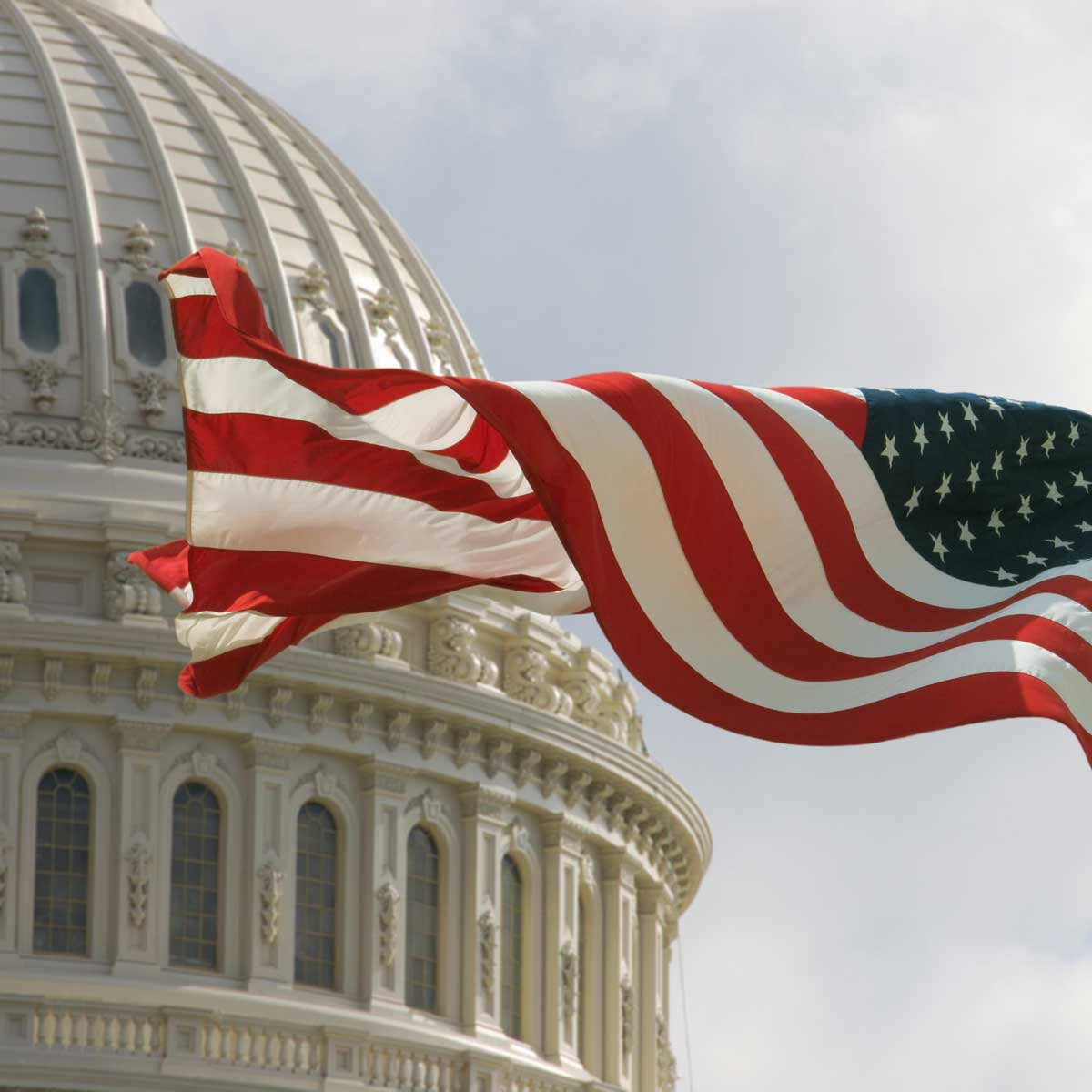 Beautiful flag of the United States of America waving with the strong wind and behind it the dome of the Capitol.