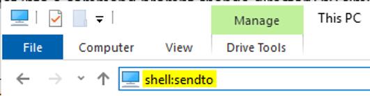 shell:sendto Windows 95
