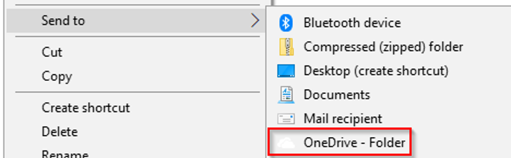 send to OneDrive
