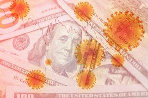 COVID-19 coronavirus in USA, 100 dollar money bill with coronavirus .