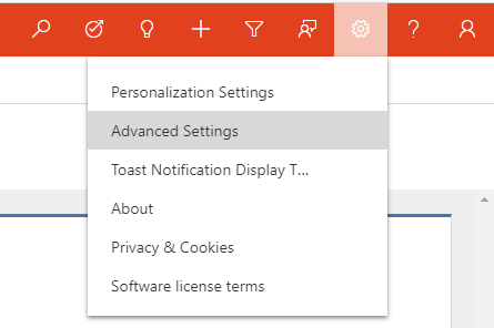 Settings menu in Dynamics 365 Unified Interface
