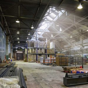 An empty production warehouse and industrial workshop