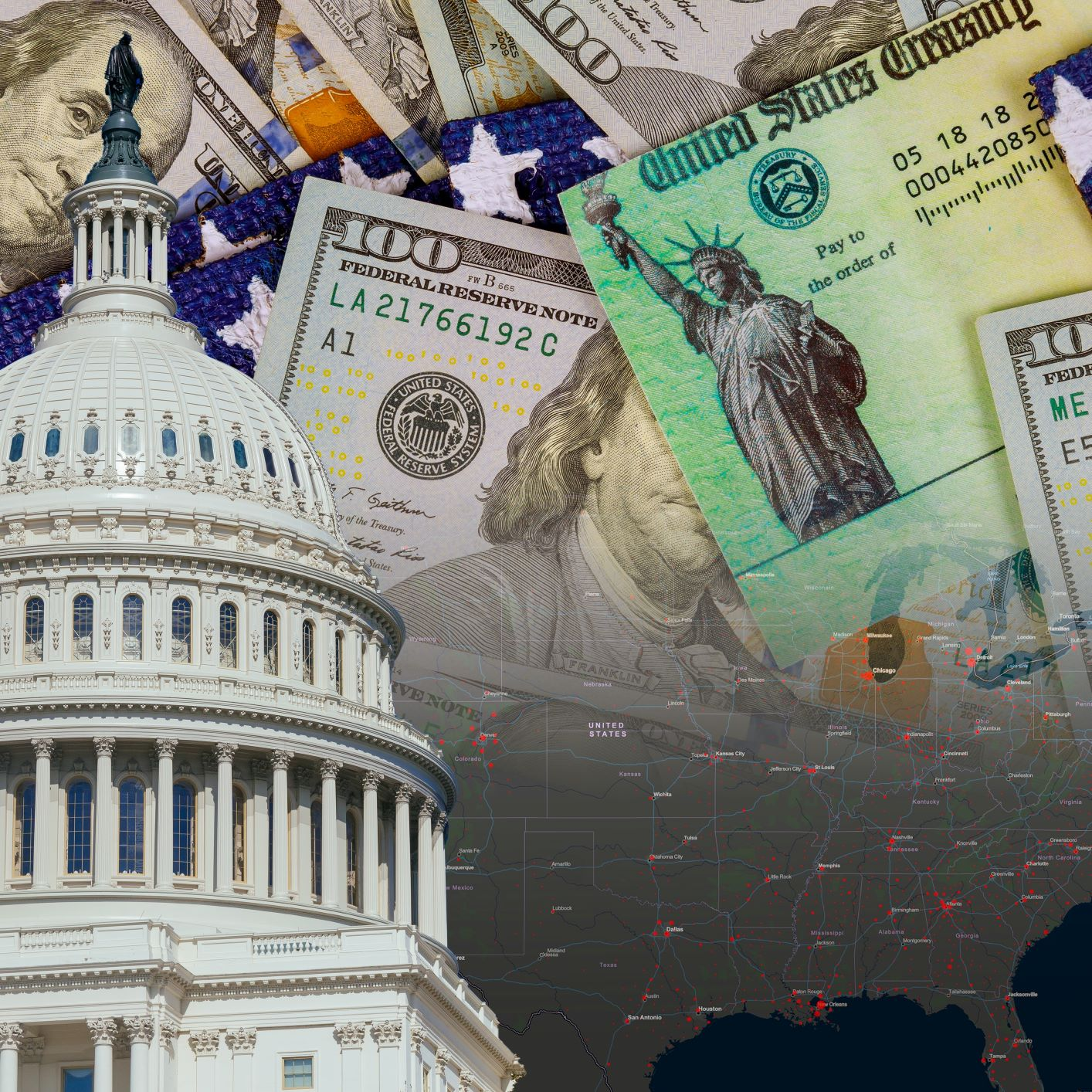 U.S. Capitol in Washington D.C. with Coronavirus financial a stimulus bill individual checks from government USA dollar cash banknote on American flag Global pandemic Covid 19 lockdown