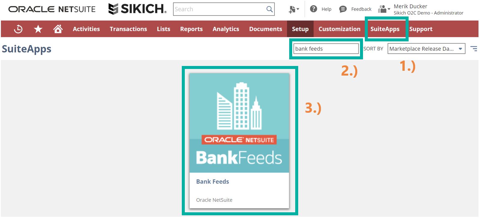 Bank Feeds SuiteApp in SuiteApp Marketplace