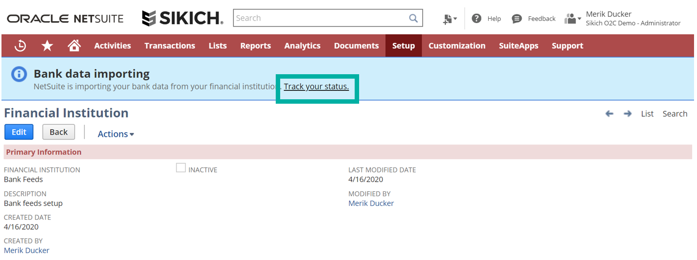 status tracking in Bank Feeds SuiteApp