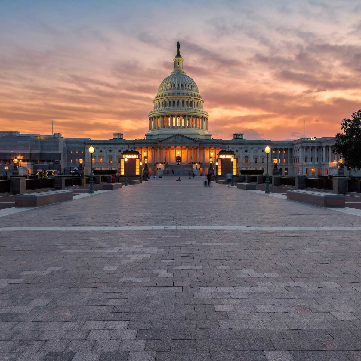 The United States Capitol Building in Washington DC at sunset