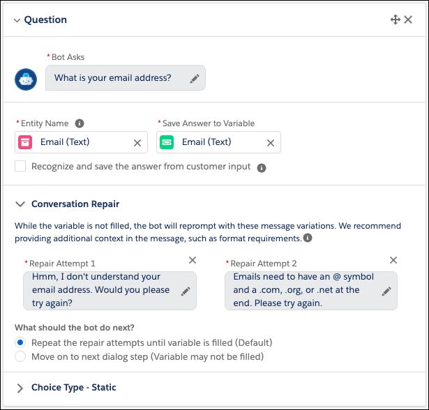 Salesforce Einstein chatbots conversation repair