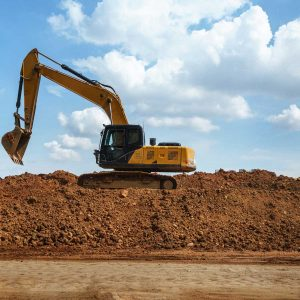 Panorama of Excavator with blue sky