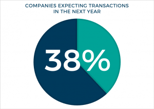 Pie Chart showing that 38% of companies expect transactions in the next year