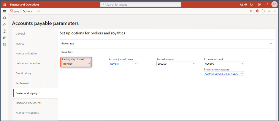 accounts payable parameters in D365FO