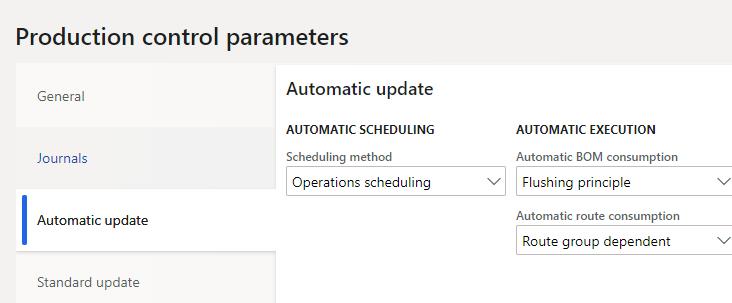 production control parameters