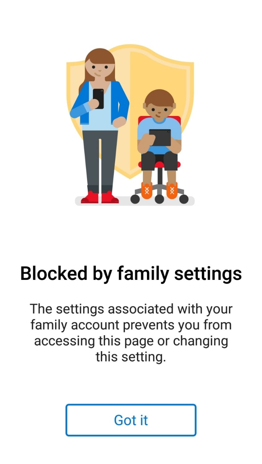 blocked by Microsoft Family Group settings