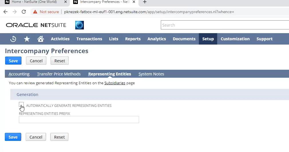 netSuite Intercompany preferences