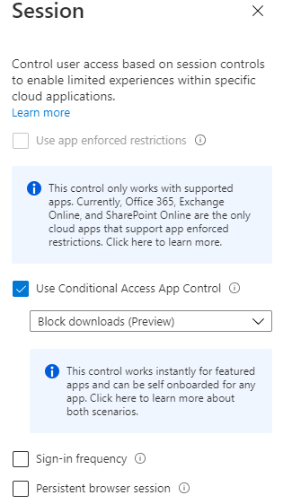 conditional access app control for sessions