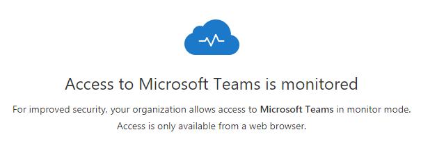 Teams Access warning