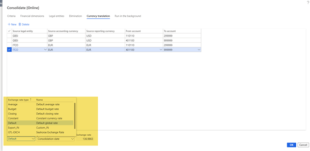 configuring D365FO online consolidation exchange rates