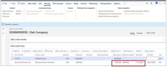 revenue recognition schedule