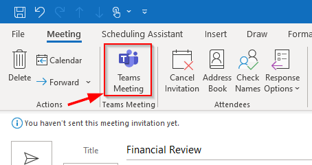 scheduling Teams meeting from Outlook