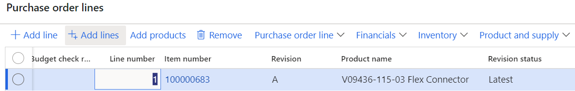 D365FO engineering revision in purchase order lines