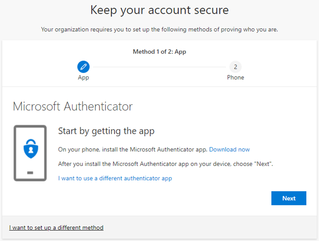 Microsoft authenticator app