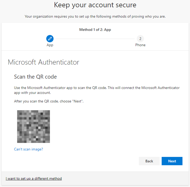 Microsoft Authenticator QR code