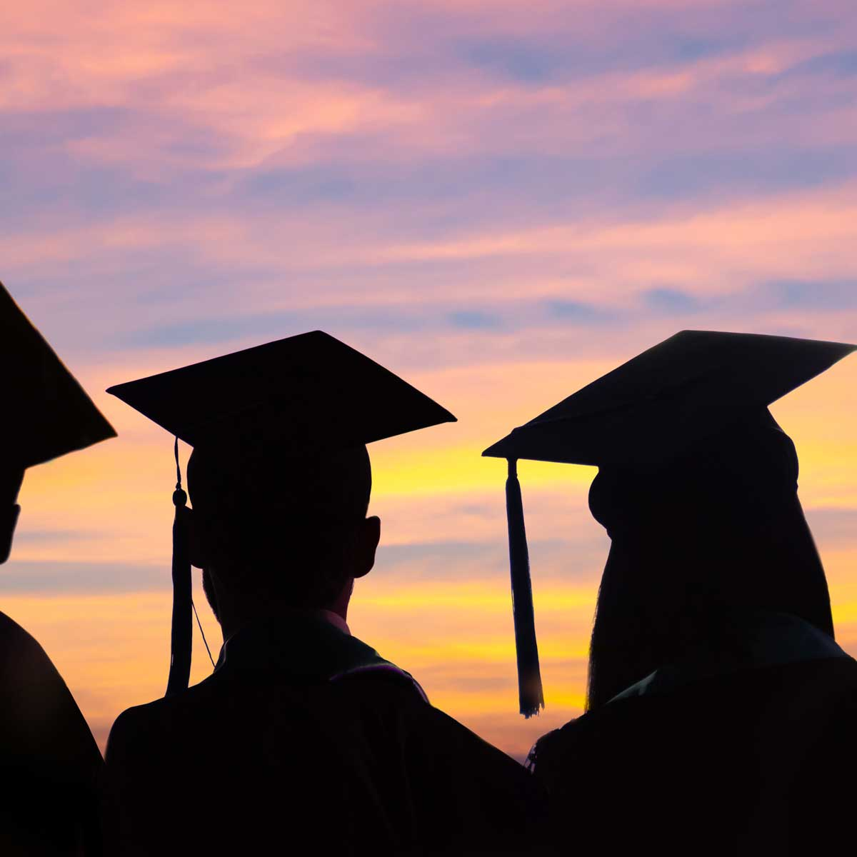 Silhouettes of students with graduate caps in a row on sunset background. Graduation ceremony at university web banner.