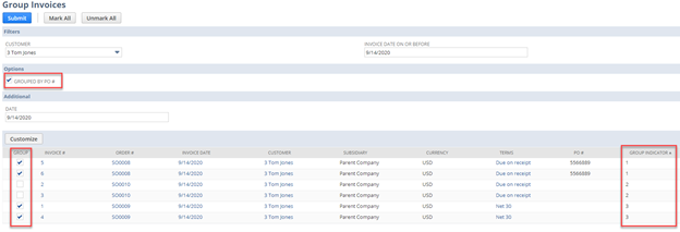 NetSuite Invoice Grouping