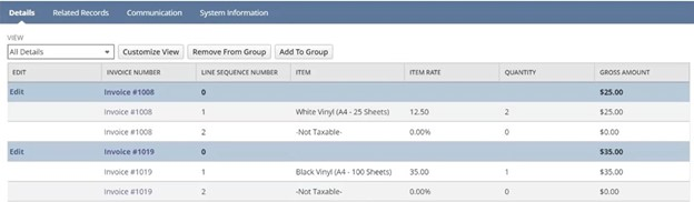 invoice grouping features