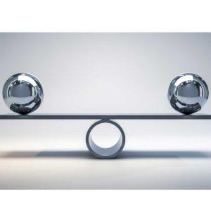 chrome balls on a scale