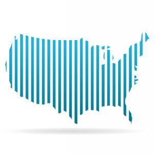 USA United States Stripes Map. Vector Graphic Design