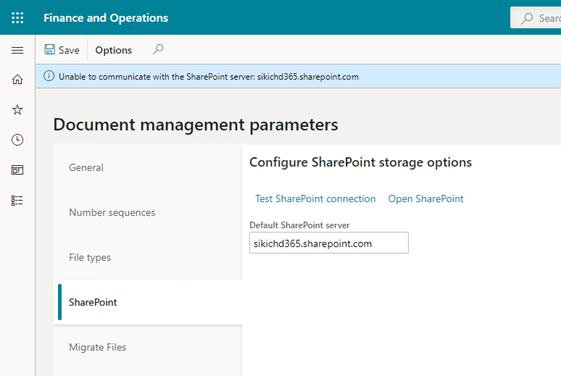 """""""Unable to communicate with the SharePoint server"""" error"""