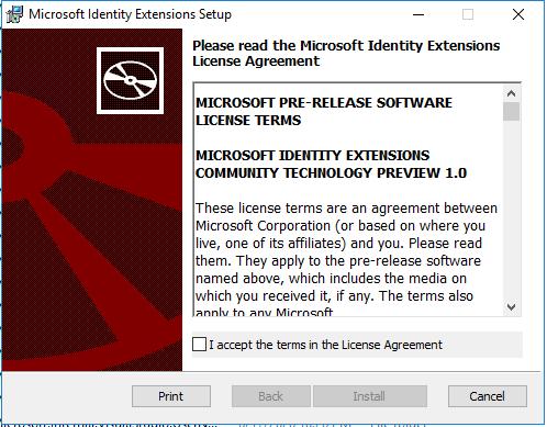 Microsoft Identify Extensions setup