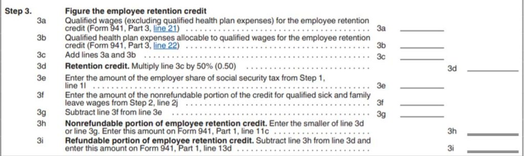 screen grab of IRS Form 941 worksheet 1, step 3 text