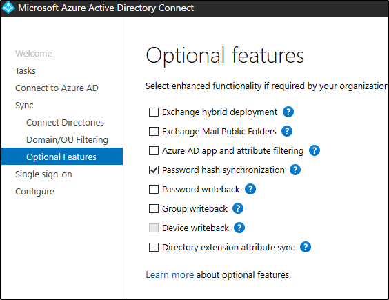 optional features checkbox