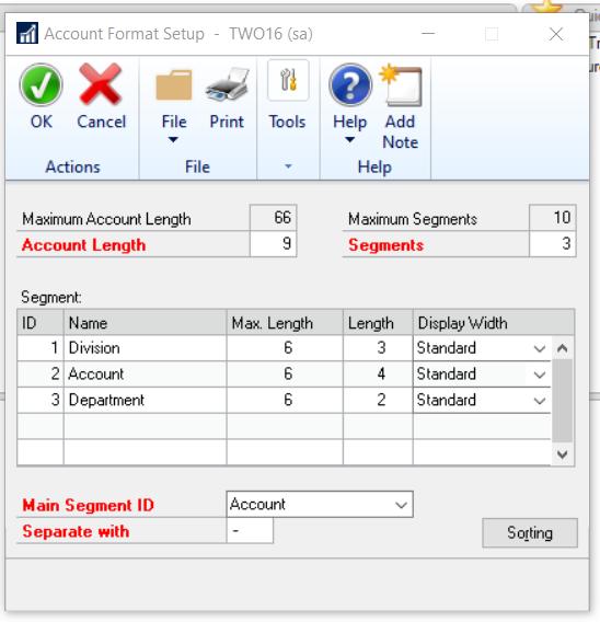 Dynamics GP Segmented Account Structure