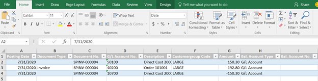 opening Business Central dimensions in Excel