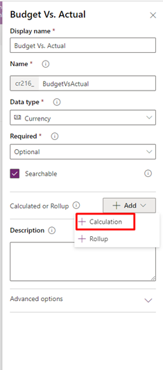 budget vs. actual calculated fields